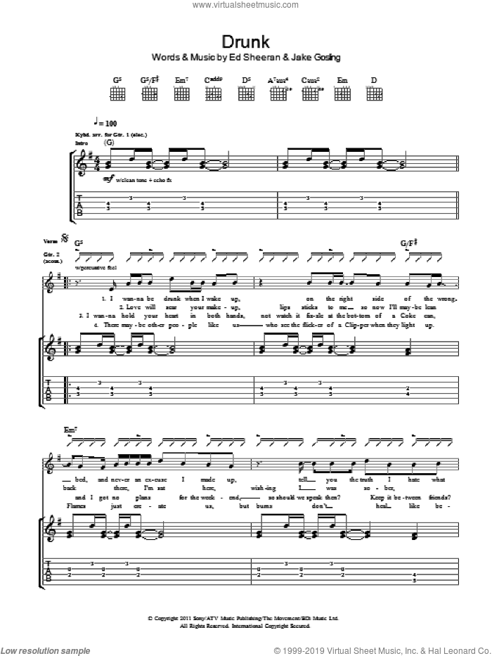 Drunk sheet music for guitar (tablature) by Jake Gosling and Ed Sheeran. Score Image Preview.