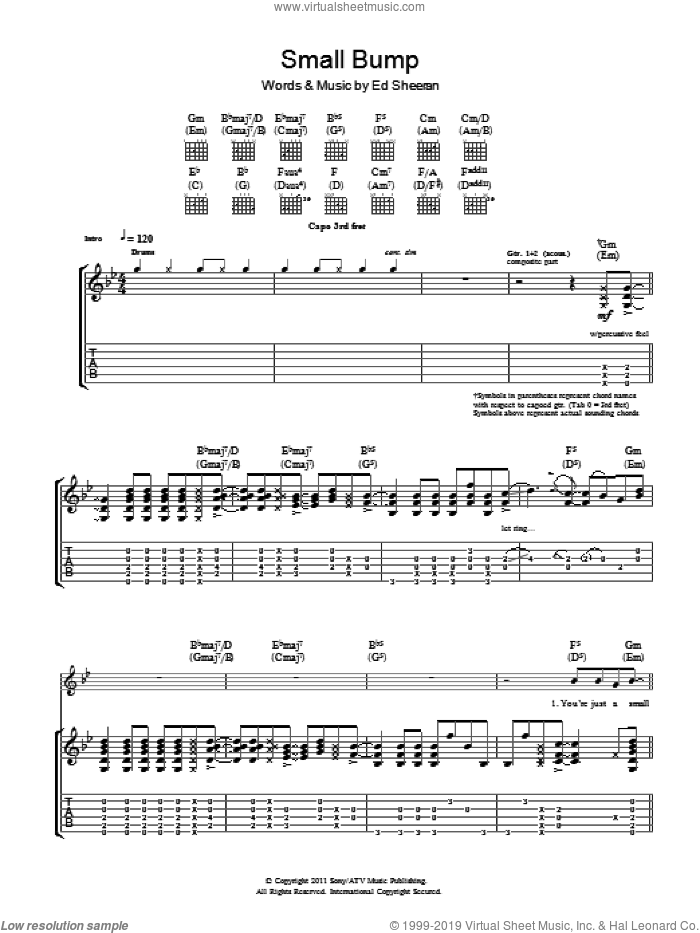Small Bump sheet music for guitar (tablature) by Ed Sheeran
