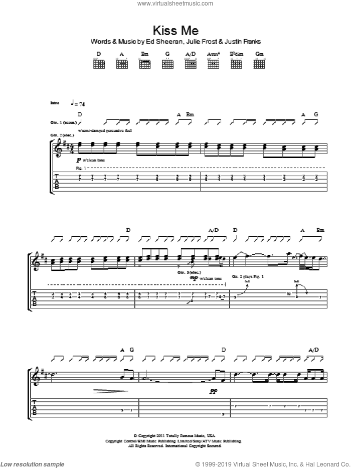 Kiss Me sheet music for guitar (tablature) by Ed Sheeran, Julie Frost and Justin Franks, intermediate skill level