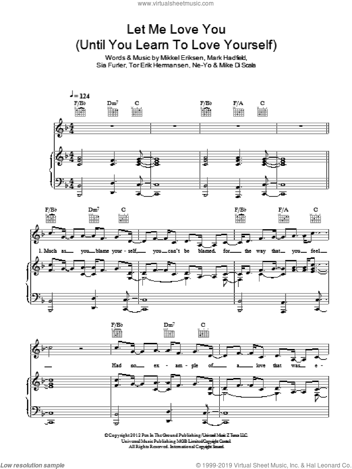 Hermansen - Let Me Love You (Until You Learn To Love Yourself) sheet music for voice, piano or ...