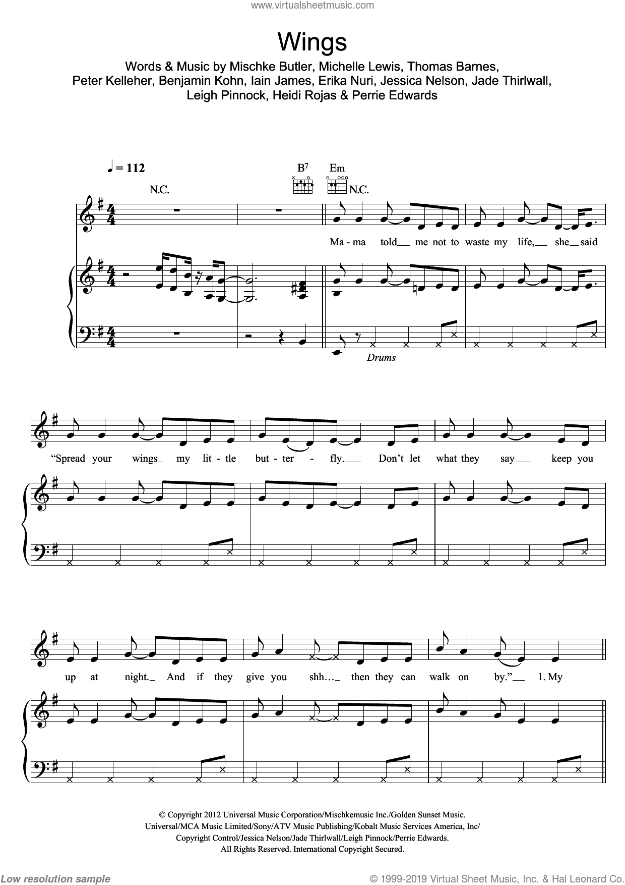 Wings sheet music for voice, piano or guitar by Thomas Barnes, Little Mix, Benjamin Kohn, Iain James, Jade Thirlwall, Michelle Lewis, Perrie Edwards and Peter Kelleher. Score Image Preview.