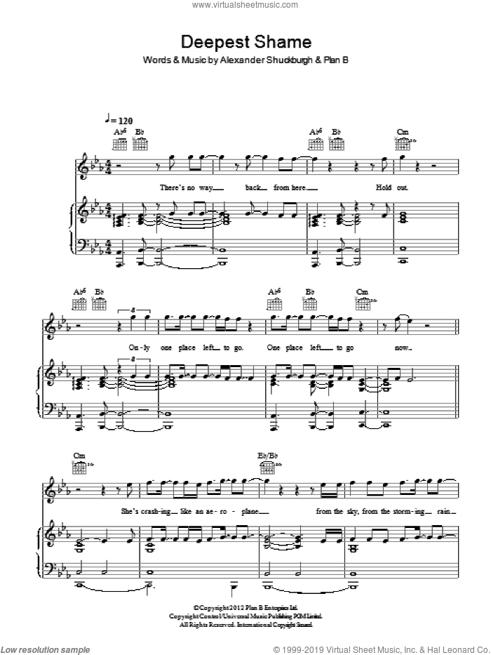 Deepest Shame sheet music for voice, piano or guitar by Al Shuckburgh. Score Image Preview.