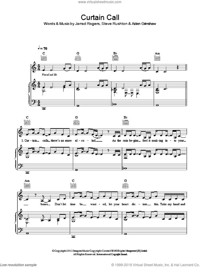 Curtain Call sheet music for voice, piano or guitar by Aiden Grimshaw and Steve Rushton. Score Image Preview.