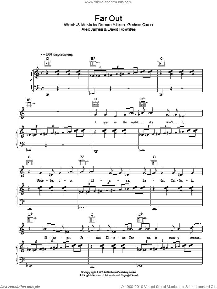Far Out sheet music for voice, piano or guitar by Blur, Alex James, Damon Albarn, David Rowntree and Graham Coxon, intermediate. Score Image Preview.