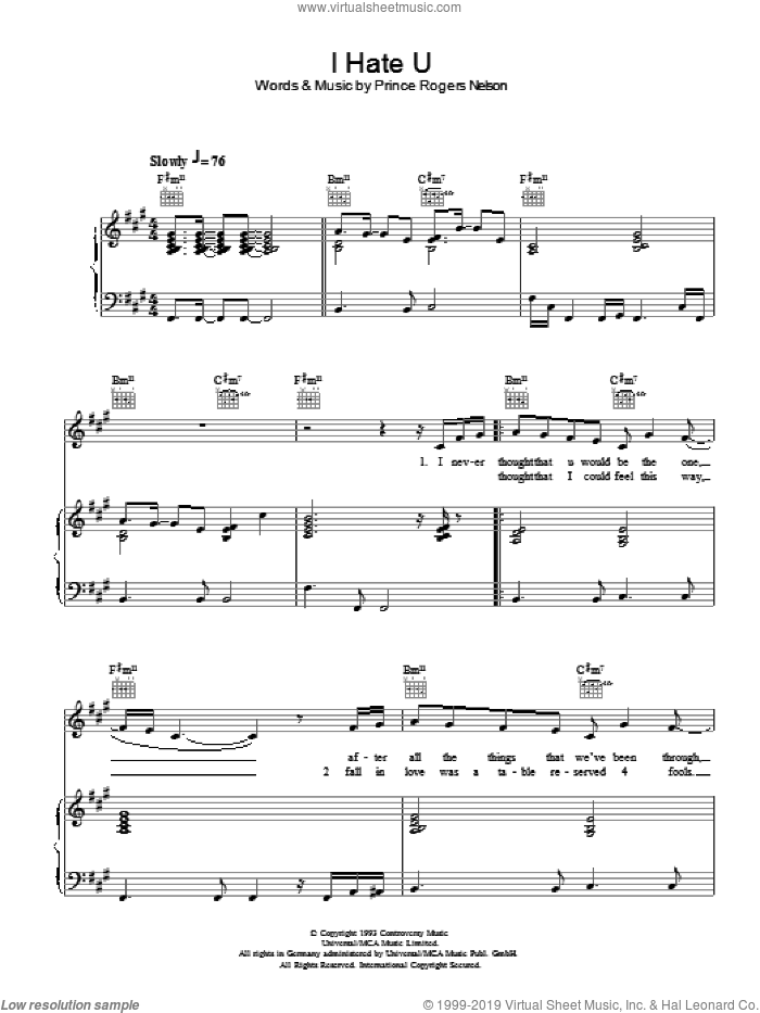 I Hate U sheet music for voice, piano or guitar by Prince, intermediate. Score Image Preview.
