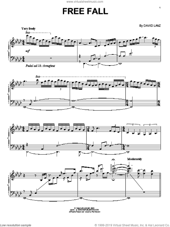 Free Fall sheet music for piano solo by David Lanz. Score Image Preview.