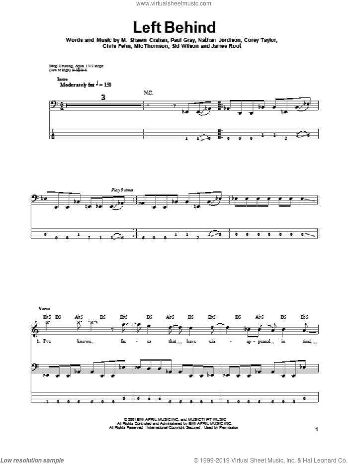 Left Behind sheet music for bass (tablature) (bass guitar) by Slipknot, intermediate. Score Image Preview.