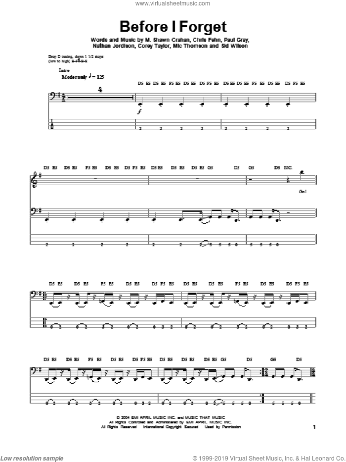 Before I Forget sheet music for bass (tablature) (bass guitar) by Slipknot. Score Image Preview.