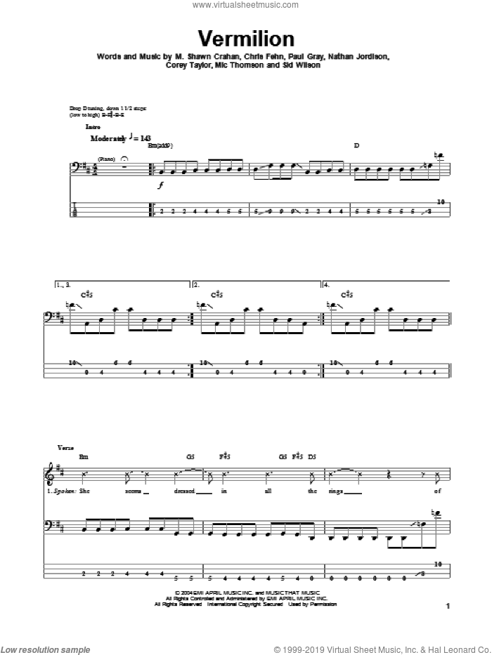 Vermilion sheet music for bass (tablature) (bass guitar) by Slipknot, intermediate bass (tablature) (bass guitar). Score Image Preview.