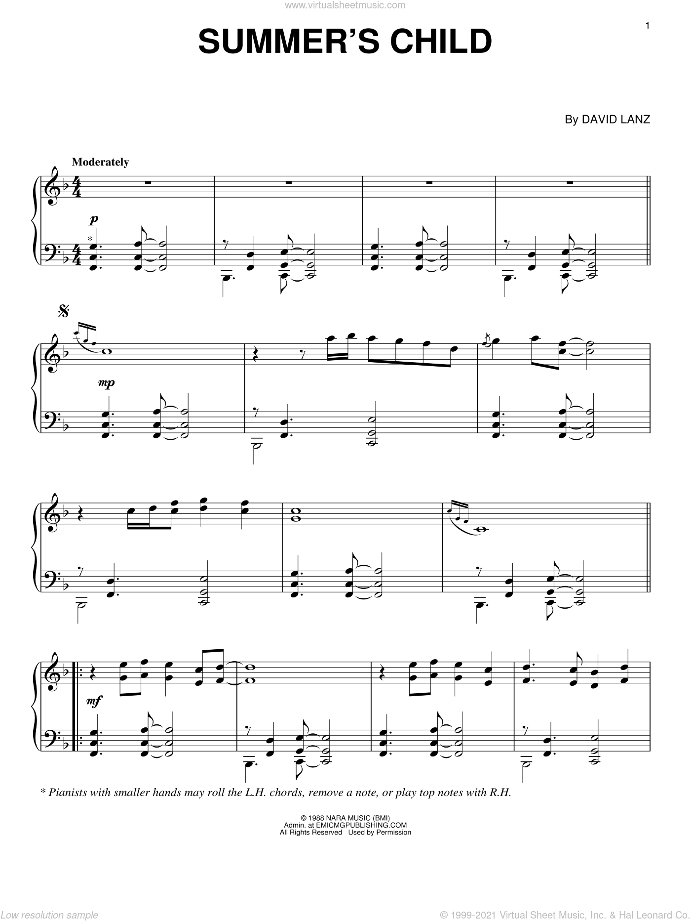 Summer's Child sheet music for piano solo by David Lanz, intermediate skill level