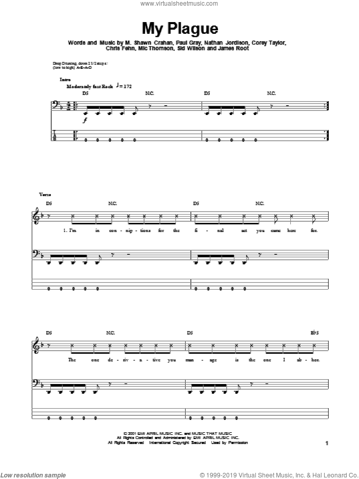 My Plague sheet music for bass (tablature) (bass guitar) by Slipknot, intermediate. Score Image Preview.