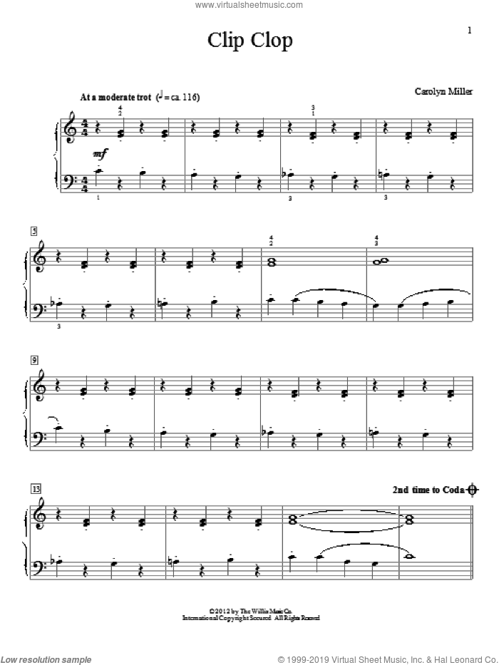 Clip Clop sheet music for piano solo (elementary) by Carolyn Miller, beginner piano (elementary)