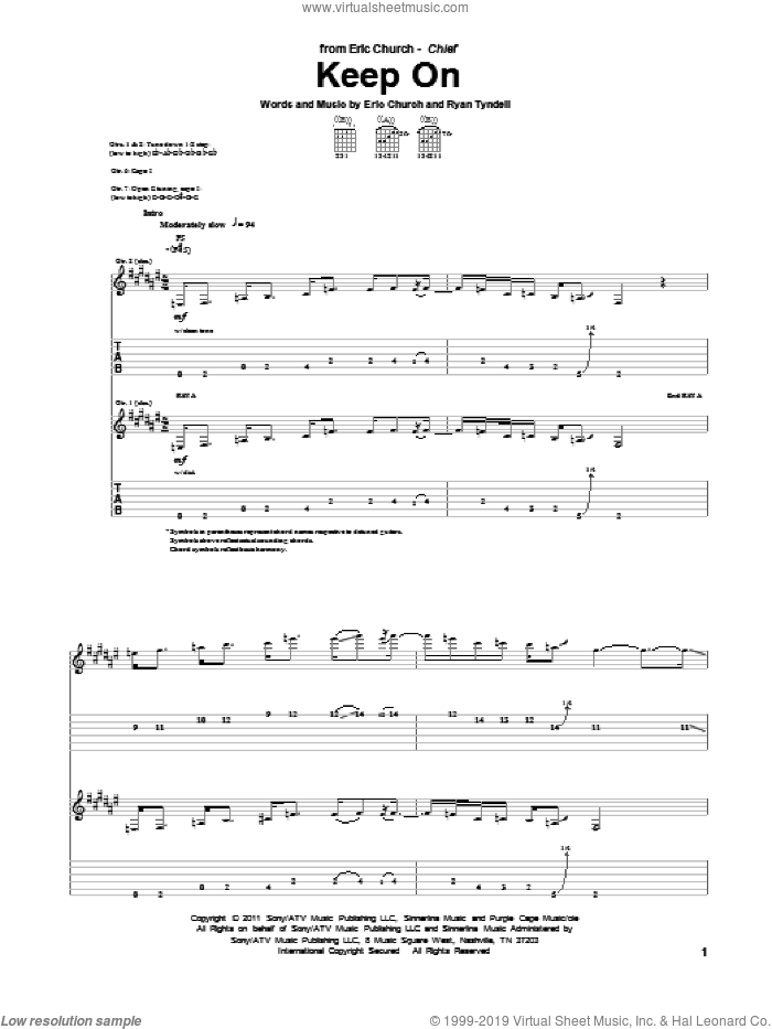 Keep On sheet music for guitar (tablature) by Eric Church and Ryan Tyndell, intermediate skill level