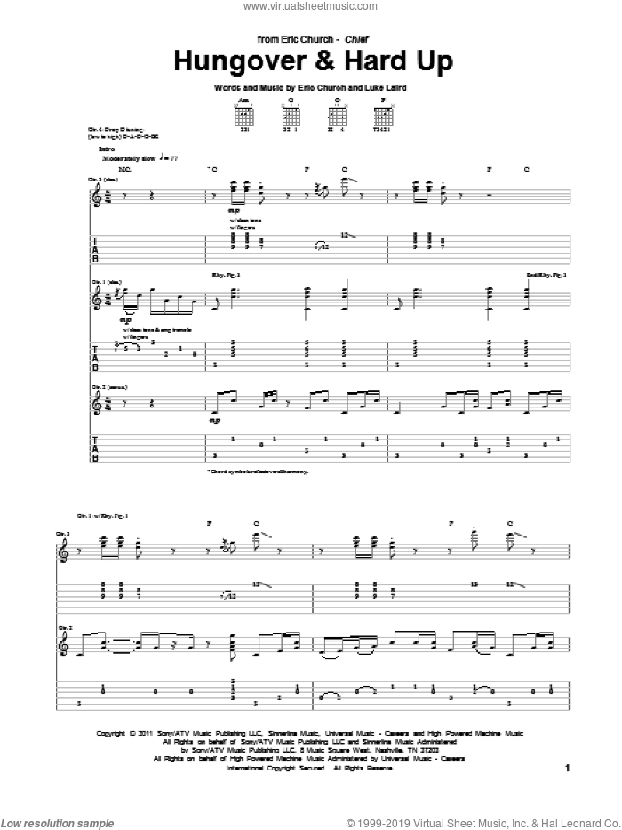 Hungover and Hard Up sheet music for guitar (tablature) by Luke Laird and Eric Church. Score Image Preview.