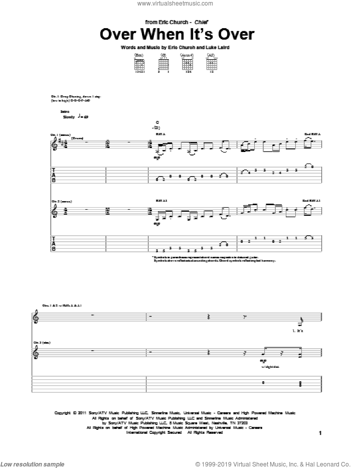 Over When It's Over sheet music for guitar (tablature) by Eric Church and Luke Laird, intermediate skill level
