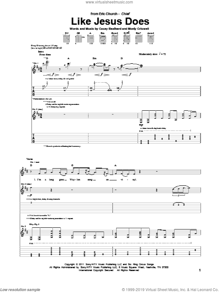 Like Jesus Does sheet music for guitar (tablature) by Monty Criswell