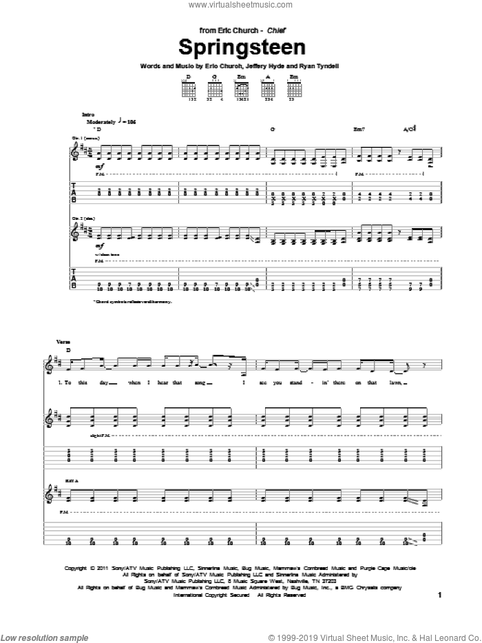 Springsteen sheet music for guitar (tablature) by Eric Church, intermediate guitar (tablature). Score Image Preview.