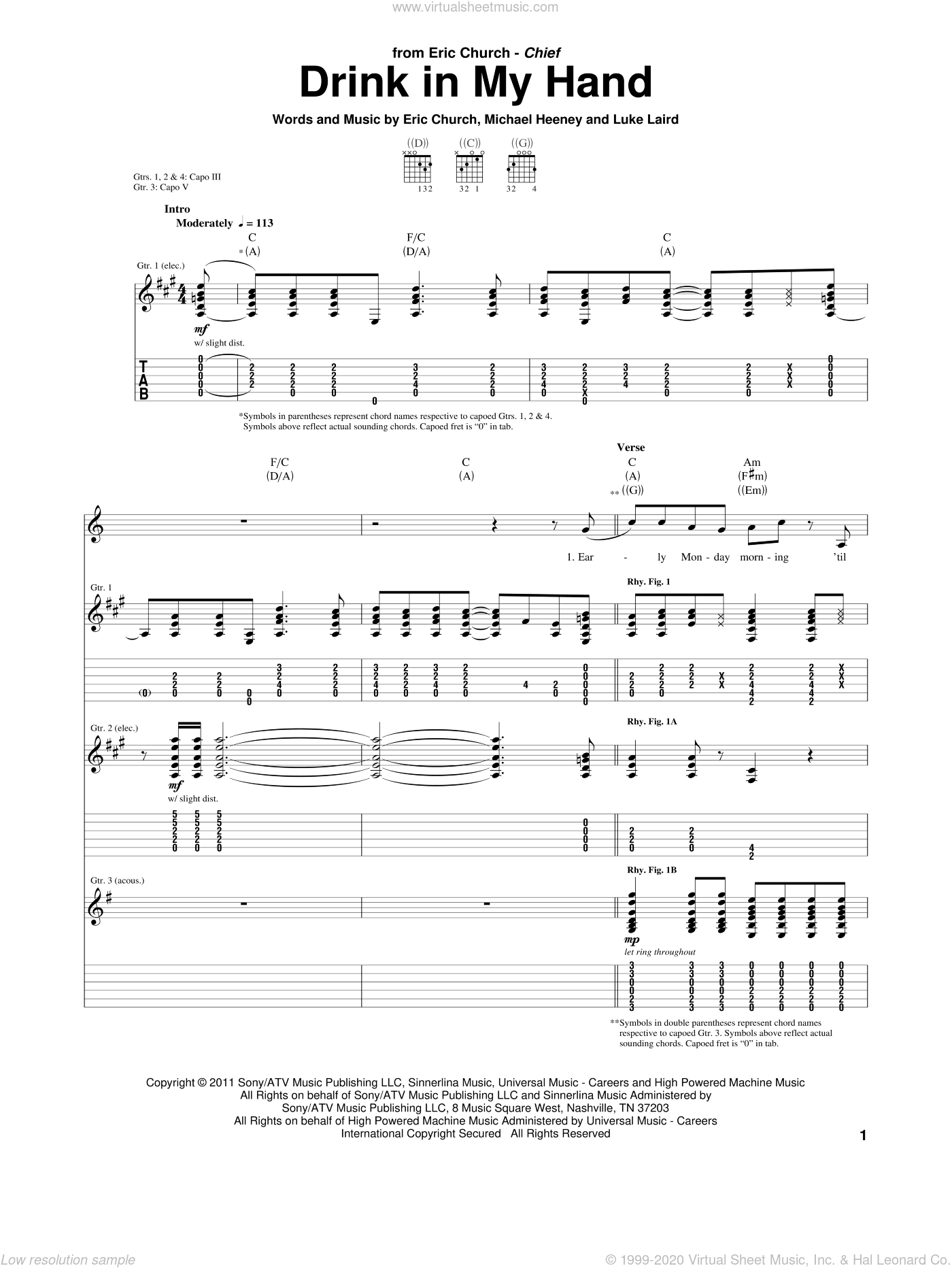 Drink In My Hand sheet music for guitar (tablature) by Michael Heeney, Eric Church and Luke Laird