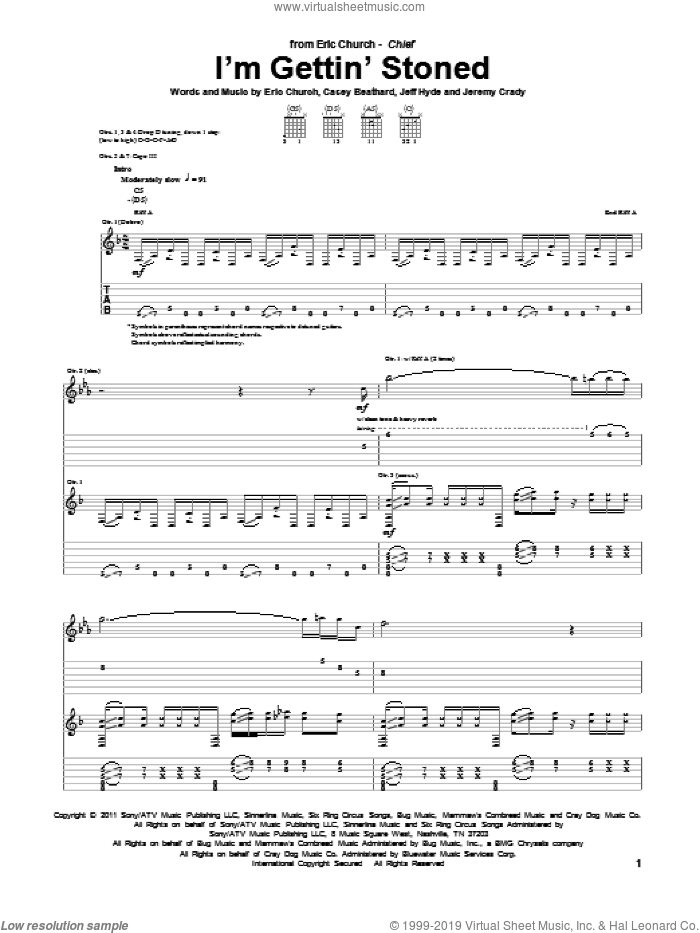 I'm Gettin' Stoned sheet music for guitar (tablature) by Eric Church, intermediate guitar (tablature). Score Image Preview.
