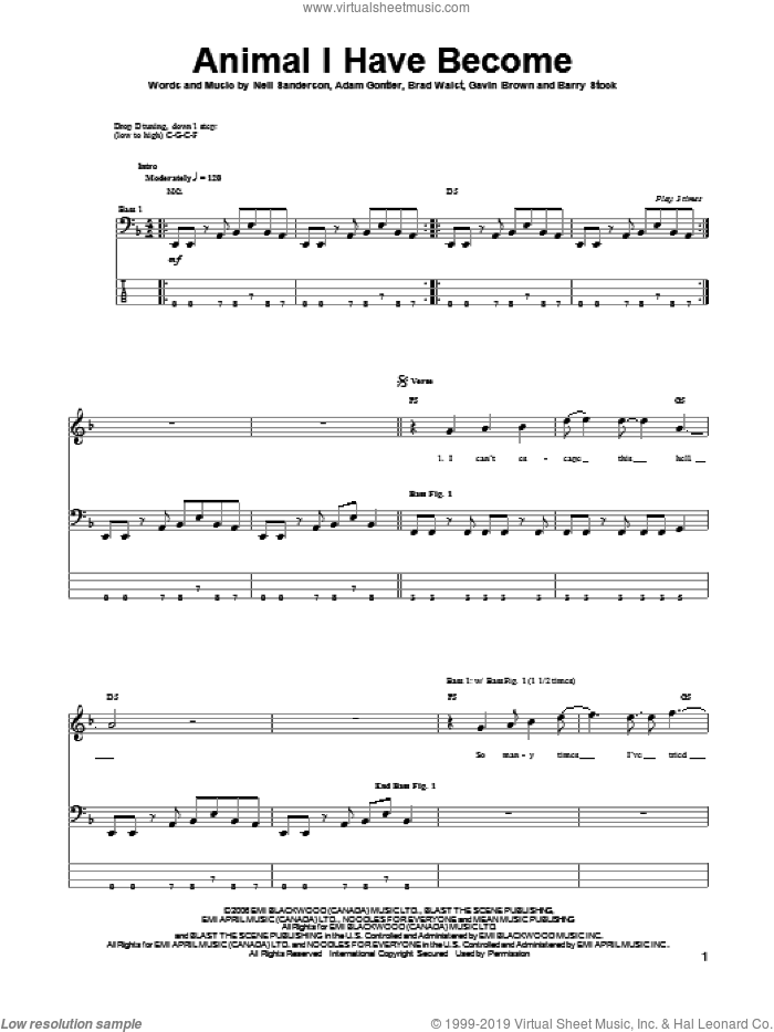 Animal I Have Become sheet music for bass (tablature) (bass guitar) by Three Days Grace, Adam Gontier, Barry Stock, Brad Walst, Gavin Brown and Neil Sanderson, intermediate. Score Image Preview.