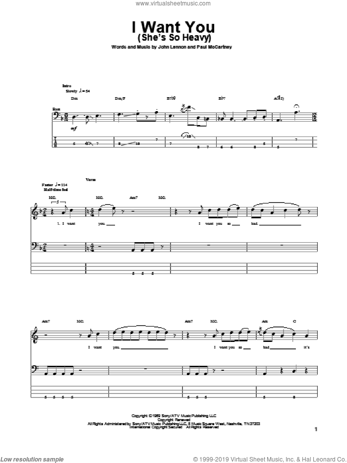 I Want You (She's So Heavy) sheet music for bass (tablature) (bass guitar) by Paul McCartney, John Lennon and The Beatles. Score Image Preview.