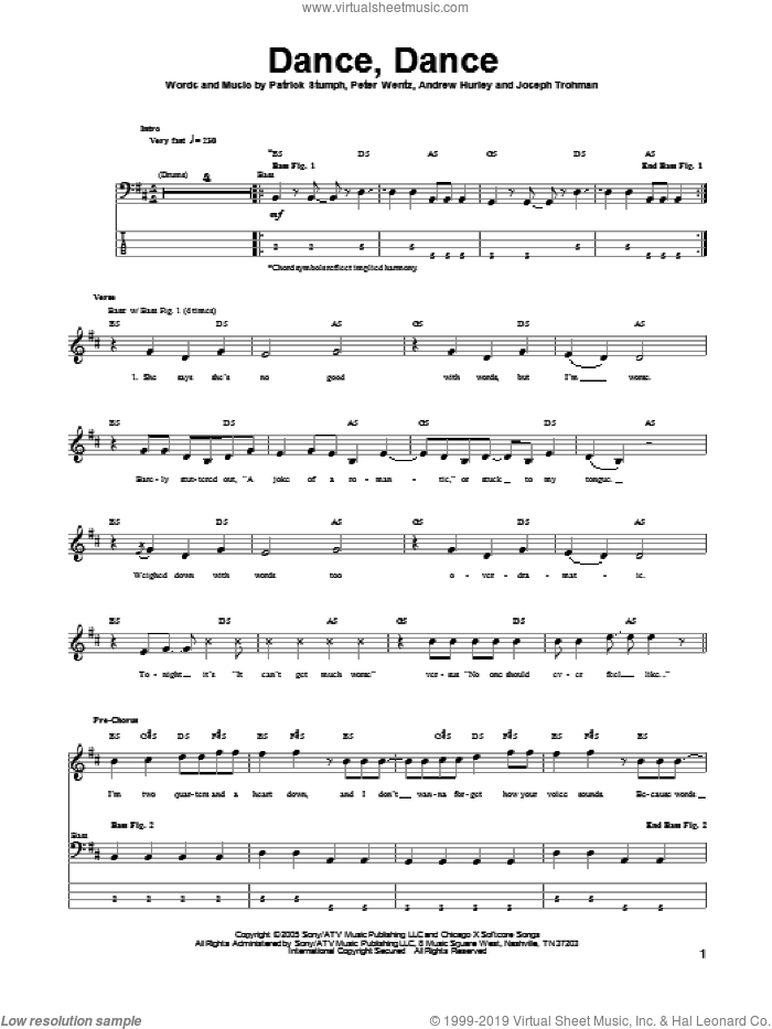 Dance, Dance sheet music for bass (tablature) (bass guitar) by Peter Wentz, Andrew Hurley and Fall Out Boy. Score Image Preview.