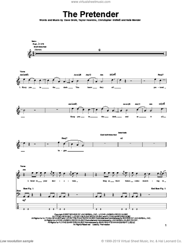 The Pretender sheet music for bass (tablature) (bass guitar) by Foo Fighters. Score Image Preview.
