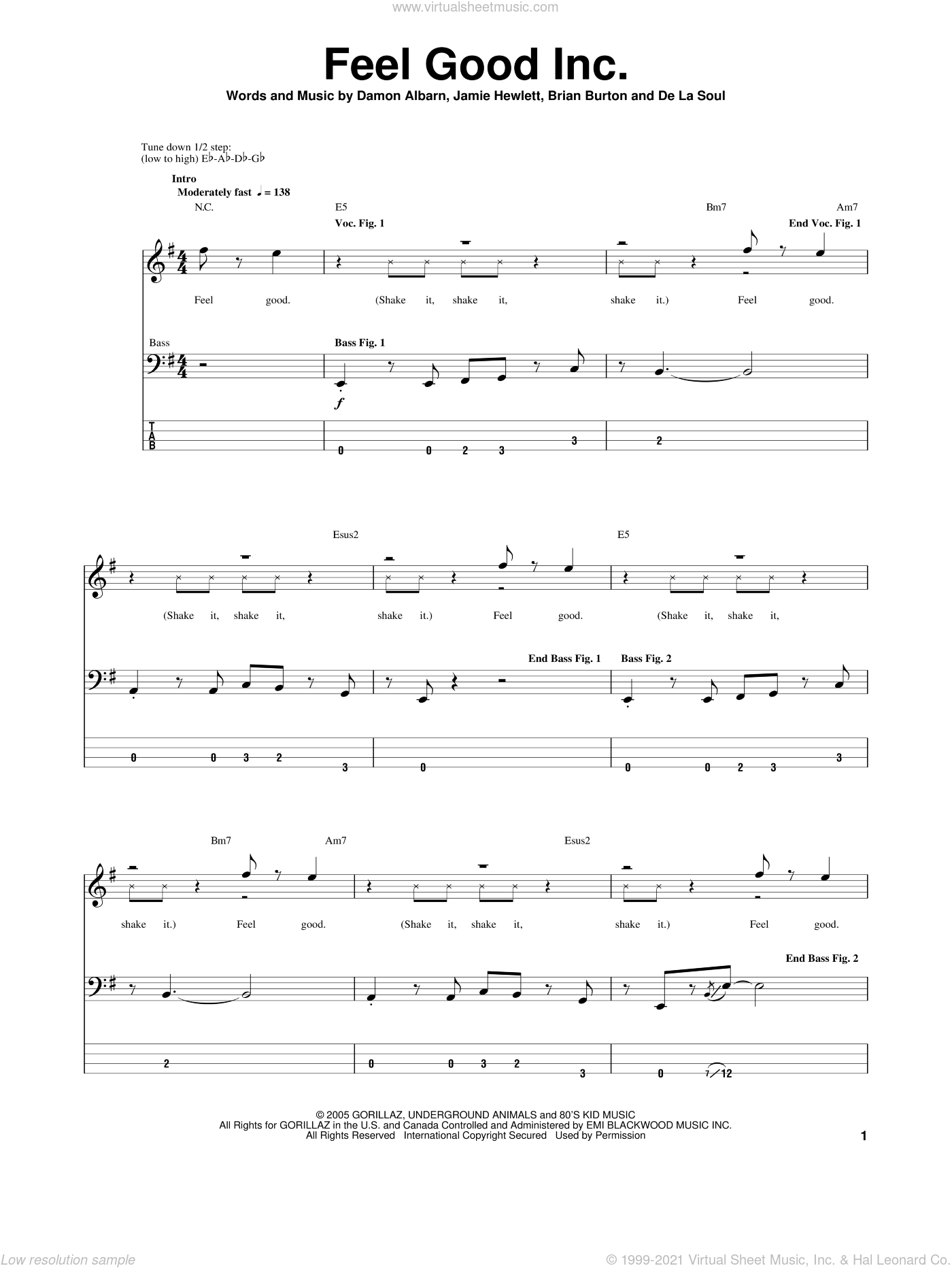 Feel Good Inc sheet music for bass (tablature) (bass guitar) by Gorillaz and Damon Albarn. Score Image Preview.