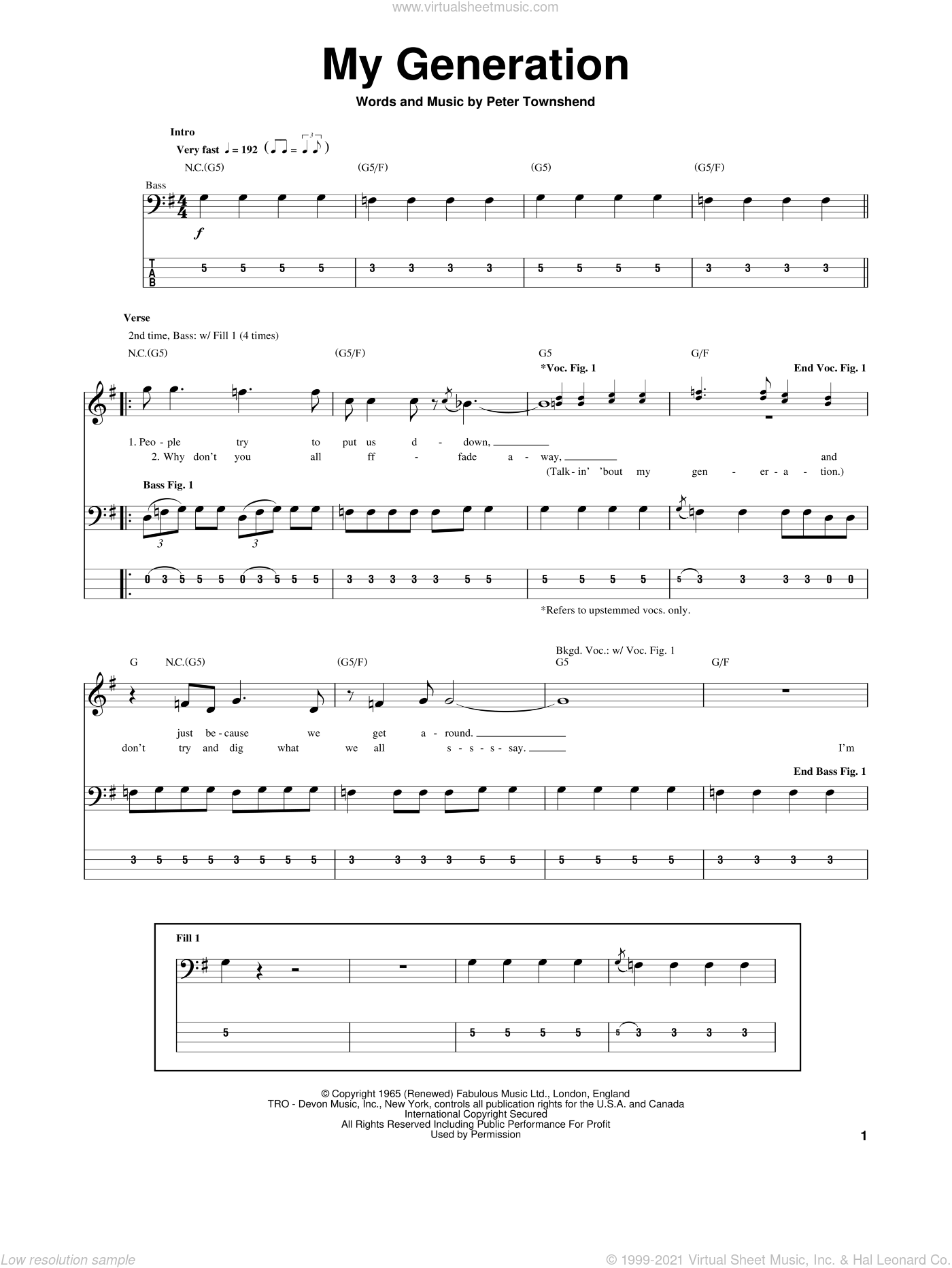 My Generation sheet music for bass (tablature) (bass guitar) by The Who and Pete Townshend, intermediate. Score Image Preview.