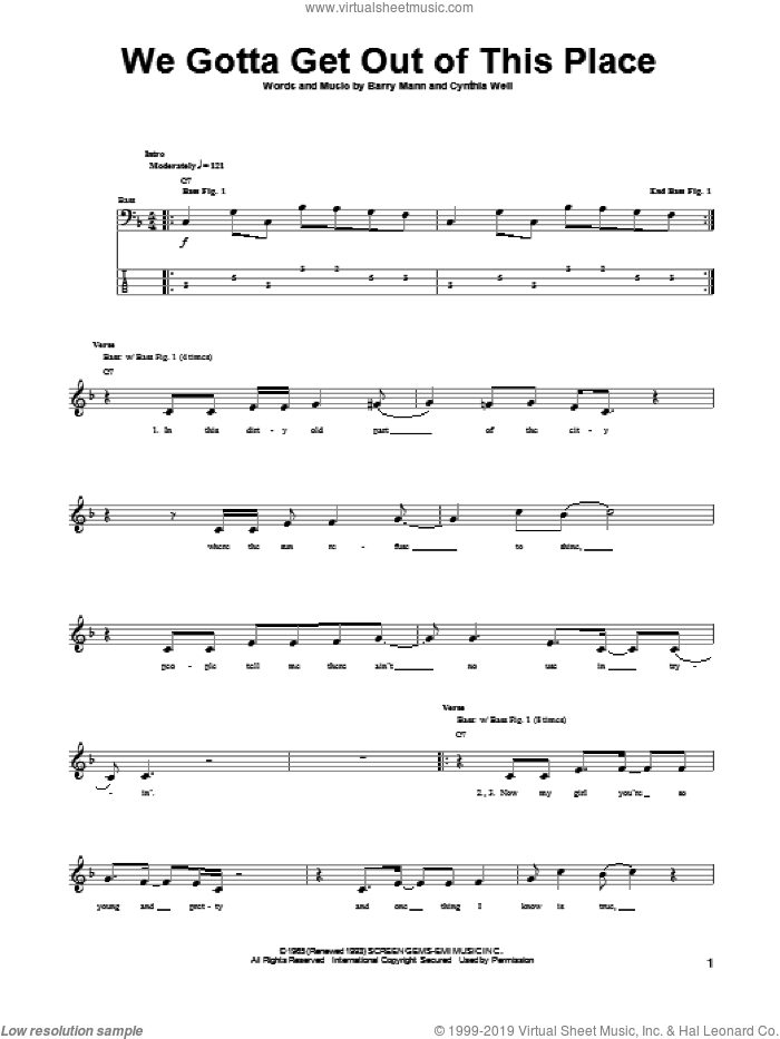 We Gotta Get Out Of This Place sheet music for bass (tablature) (bass guitar) by The Animals, Barry Mann and Cynthia Weil, intermediate skill level