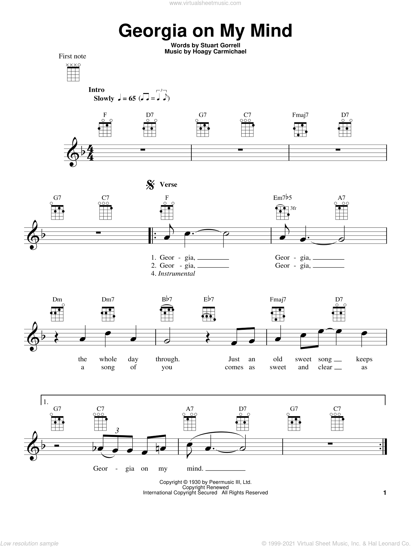 Georgia On My Mind sheet music for ukulele by Ray Charles, Hoagy Carmichael, Stuart Gorrell and Willie Nelson, intermediate skill level