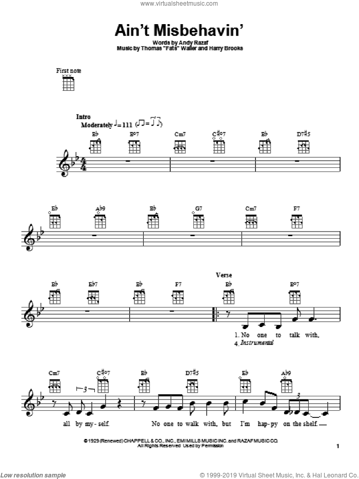 Ain't Misbehavin' sheet music for ukulele by Harry Brooks, Andy Razaf and Thomas Waller. Score Image Preview.