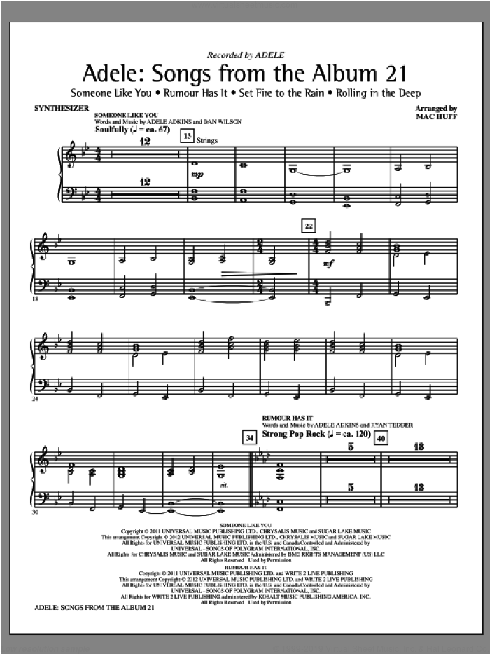 Adele: Songs From The Album 21 (Medley) sheet music for orchestra/band (synthesizer) by Mac Huff, Adele and Adele Adkins, intermediate skill level