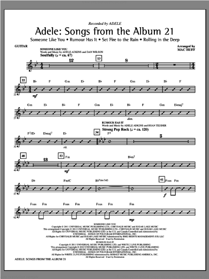 Adele: Songs From The Album 21 (Medley) sheet music for orchestra/band (guitar) by Mac Huff and Adele. Score Image Preview.