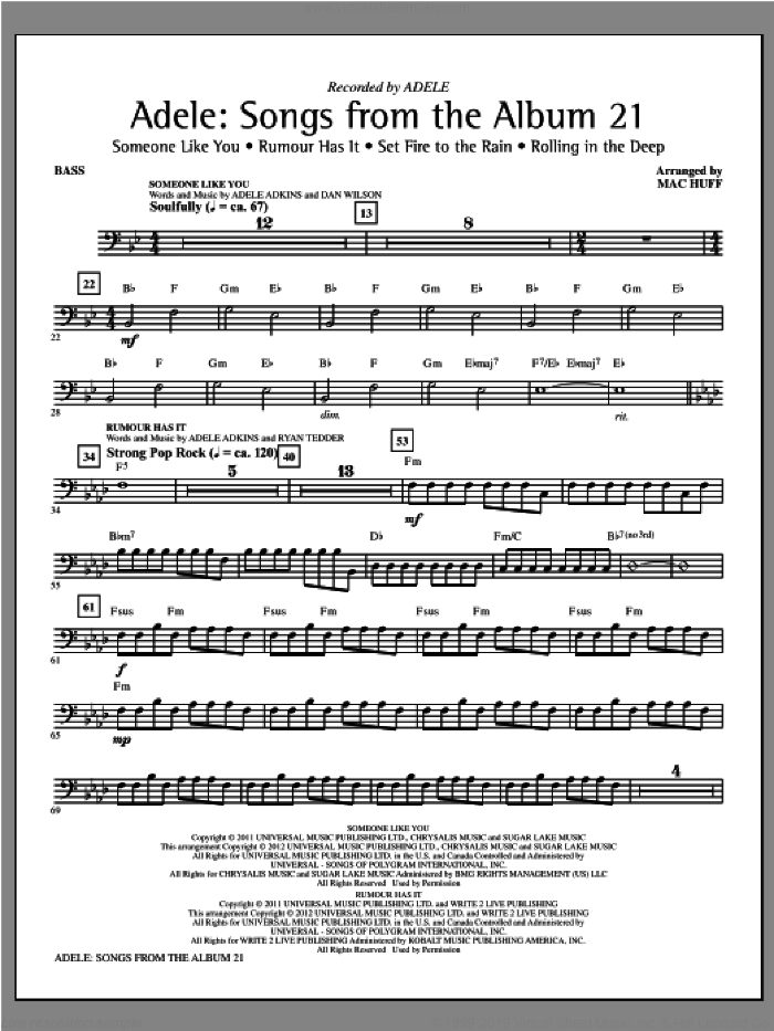 Adele: Songs From The Album 21 (Medley) sheet music for orchestra/band (bass) by Mac Huff, Adele and Adele Adkins, intermediate skill level
