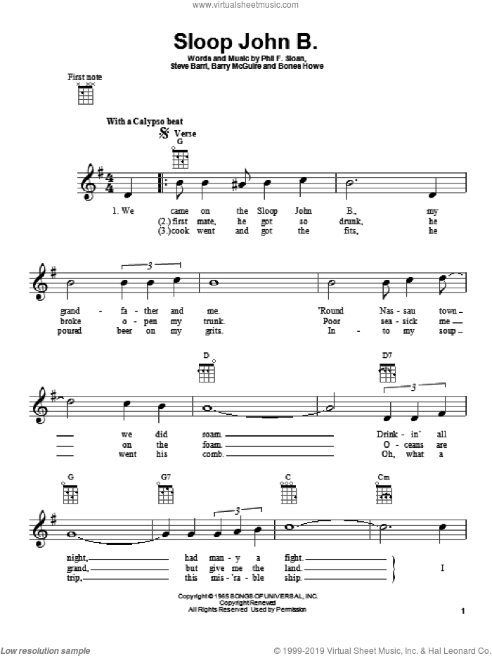 Sloop John B. sheet music for ukulele by Phil F. Sloan, Barry McGuire and Steve Barri. Score Image Preview.