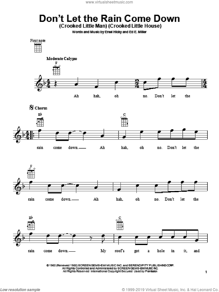 Don't Let The Rain Come Down (Crooked Little Man) (Crooked Little House) sheet music for ukulele by Serendipity Singers. Score Image Preview.