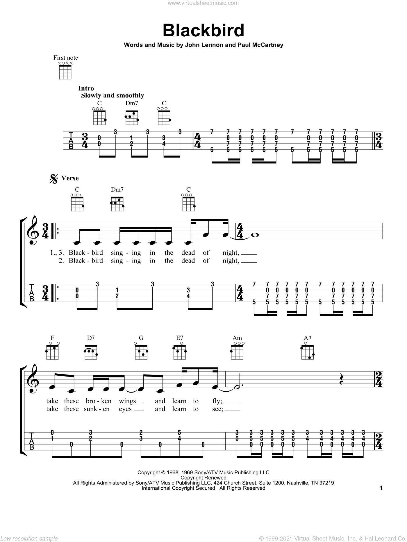 Blackbird sheet music for ukulele by The Beatles, John Lennon and Paul McCartney, intermediate skill level