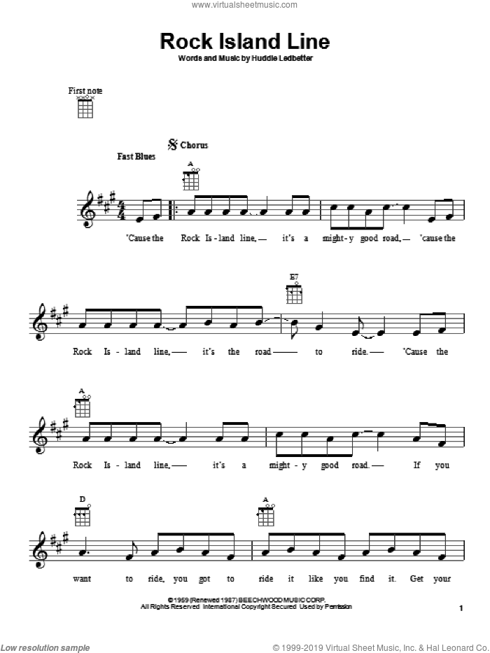 Rock Island Line sheet music for ukulele by Leadbelly (aka Huddie Ledbetter)