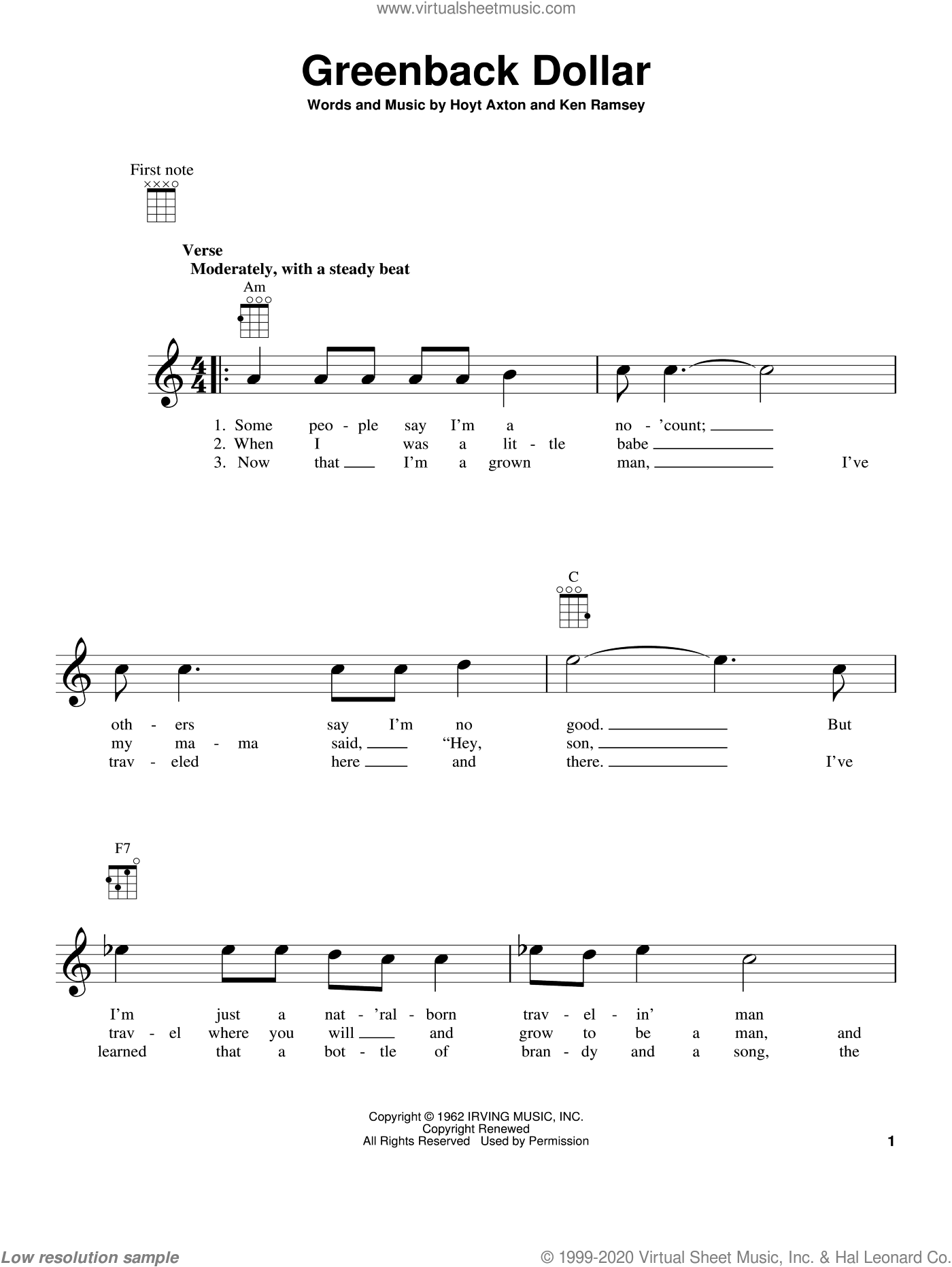 Greenback Dollar sheet music for ukulele by Kingston Trio, Hoyt Axton and Ken Ramsey, intermediate. Score Image Preview.