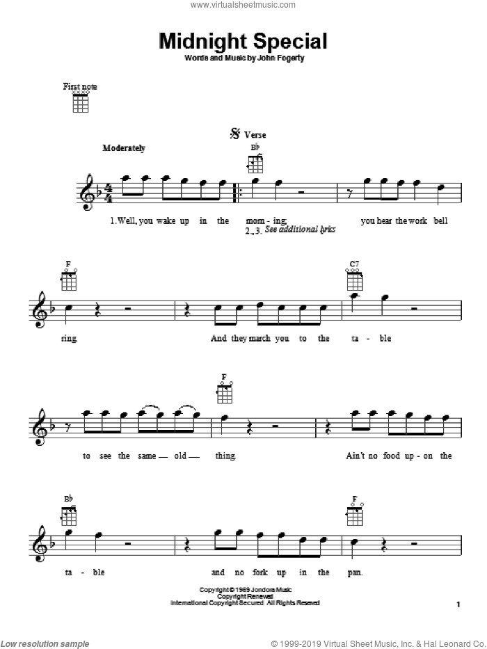 Midnight Special sheet music for ukulele by Creedence Clearwater Revival and John Fogerty, intermediate skill level