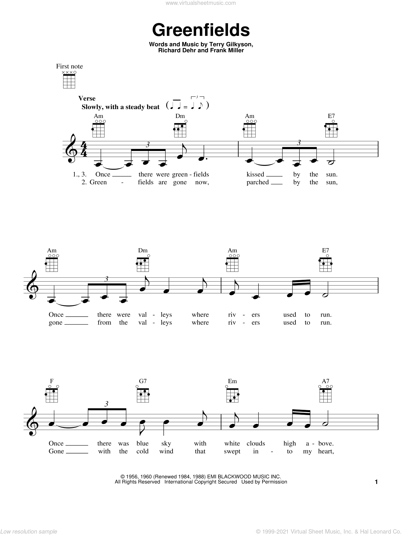 Greenfields sheet music for ukulele by The Brothers Four, Frank Miller, Richard Dehr and Terry Gilkyson, intermediate skill level