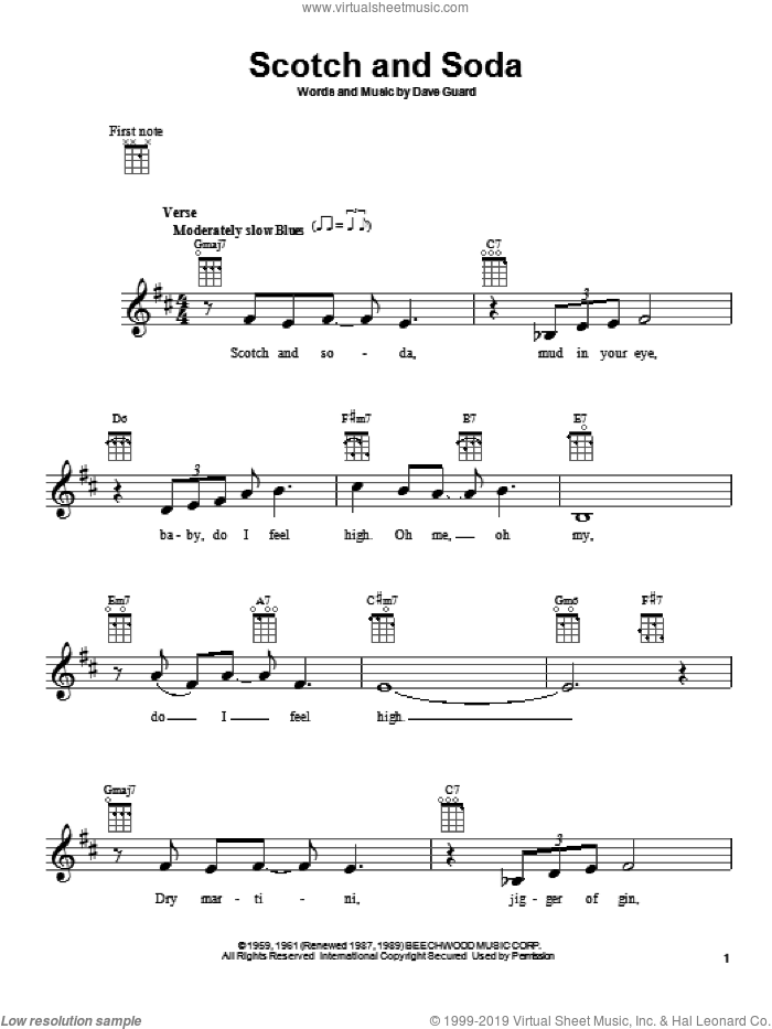 Scotch And Soda sheet music for ukulele by Dave Guard. Score Image Preview.