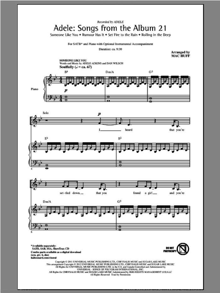 Adele: Songs From The Album 21 (Medley) sheet music for choir (SATB: soprano, alto, tenor, bass) by Mac Huff and Adele, intermediate. Score Image Preview.
