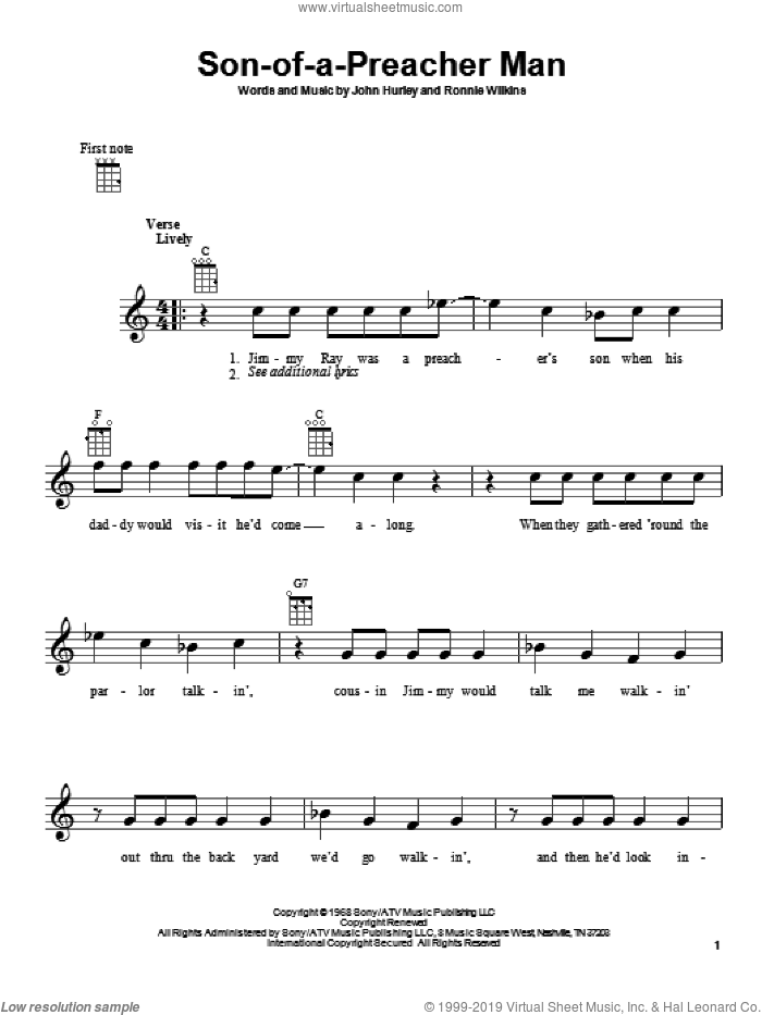 Son-Of-A-Preacher Man sheet music for ukulele by Dusty Springfield, John Hurley and Ronnie Wilkins, intermediate skill level