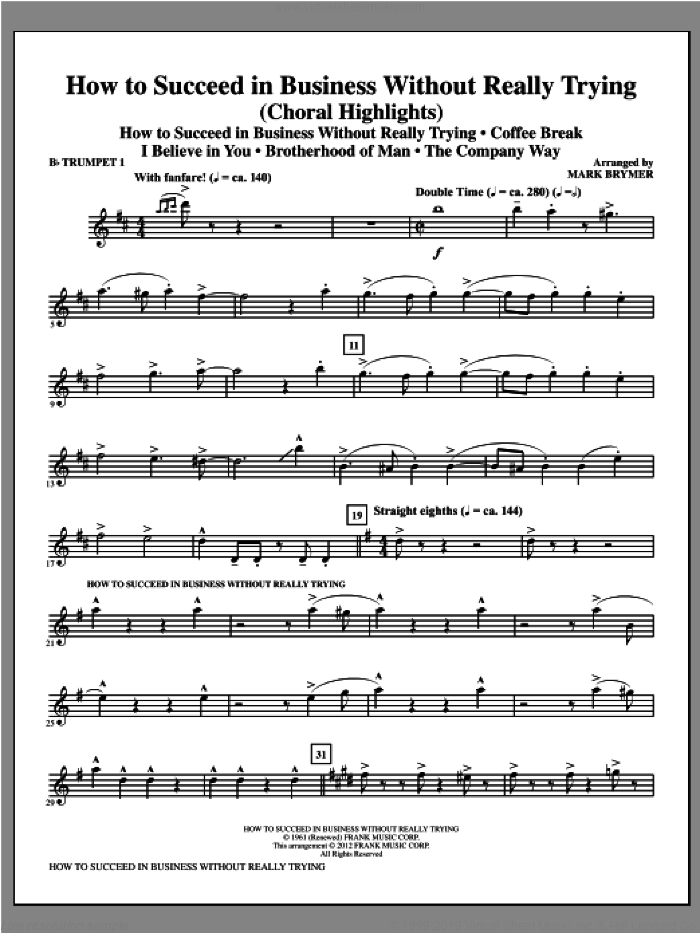 How to Succeed In Business Without Really Trying (Medley) sheet music for orchestra/band (Bb trumpet 1) by Mark Brymer, intermediate skill level