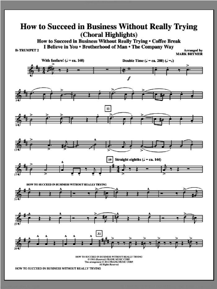 How to Succeed In Business Without Really Trying (Medley) sheet music for orchestra/band (Bb trumpet 2) by Mark Brymer, intermediate skill level