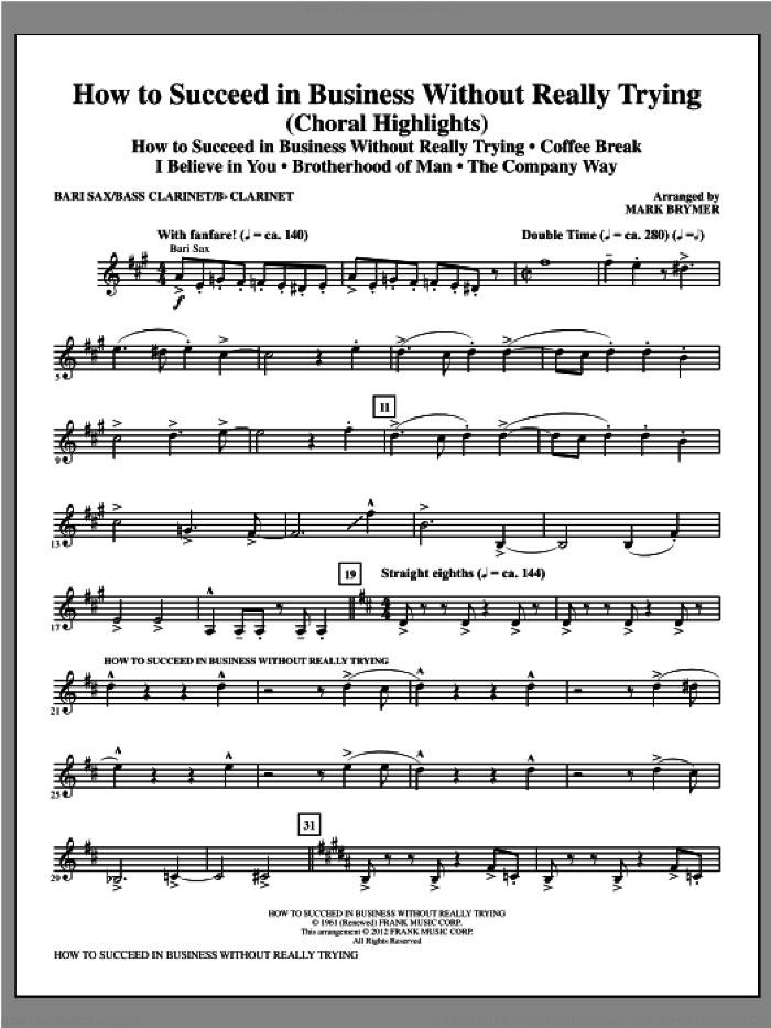 How to Succeed In Business Without Really Trying (Medley) sheet music for orchestra/band (baritone sax) by Mark Brymer, intermediate skill level