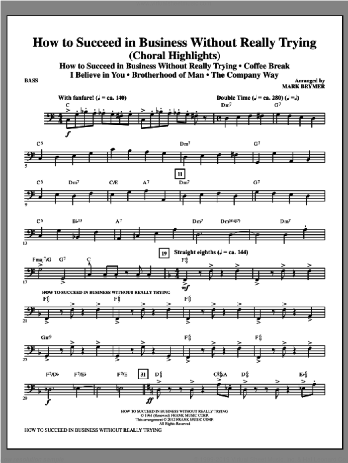 How to Succeed In Business Without Really Trying (Medley) sheet music for orchestra/band (bass) by Mark Brymer, intermediate skill level