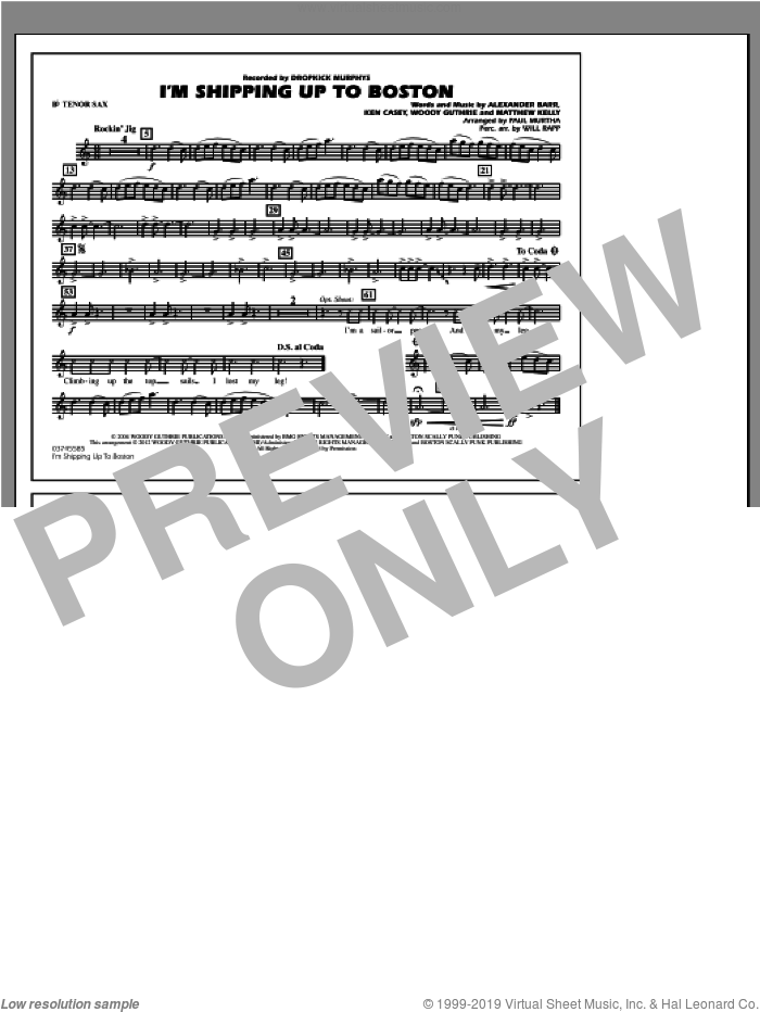 I'm Shipping Up To Boston sheet music for marching band (Bb tenor sax) by Alexander Barr